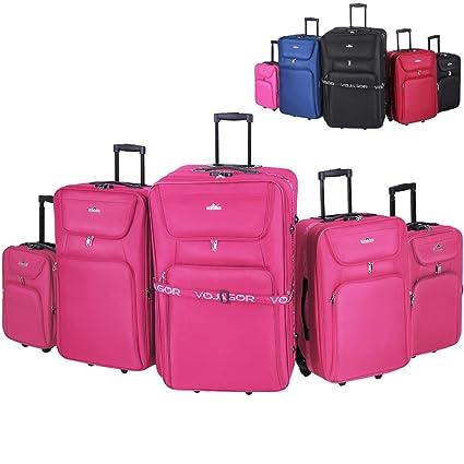Vojagor - Juego de 5 maletas con ruedas - tamaños XXL, XL, L, M y una pequeña maleta (S) – color rosa