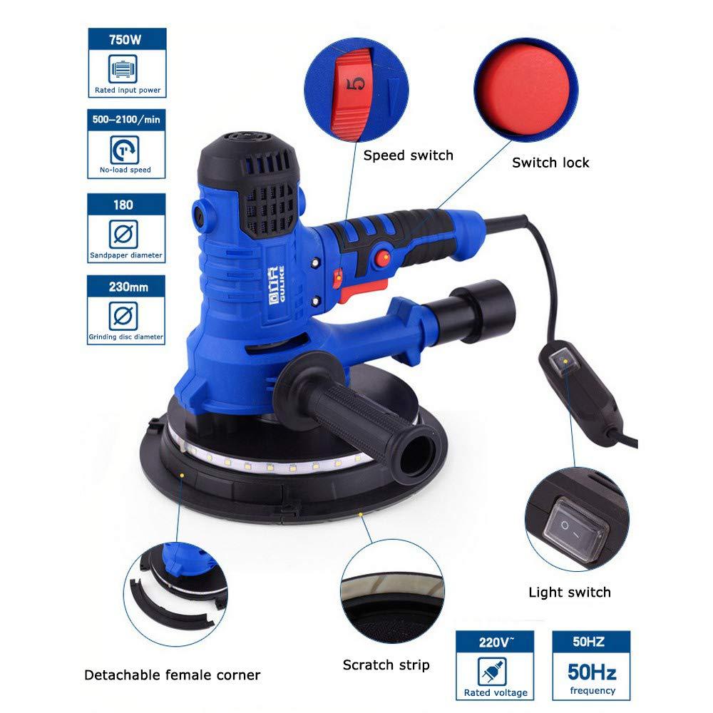 Lijadora eléctrica para paneles de yeso   AC 220V 500-2100r / min Aspiradora de lijado de velocidad variable   con extracción de polvo y luces LED: Amazon.es: Industria, empresas y ciencia