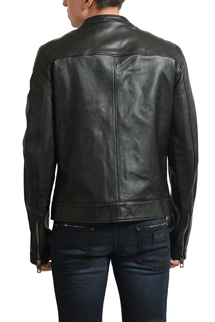 88338f574 Amazon.com: Dolce & Gabbana Men's Black 100% Leather Full Zip Basic ...