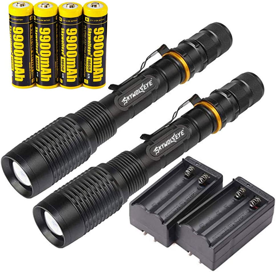 2 Set Tactical Police 350000Lumens 5 Modes 18650 T6 LED Flashlight Waterproof Aluminum Zoom Torch 9900mAh Rechargeable Batteries Dual Smart Battery Chargers for Camping Hiking Running Outdoor
