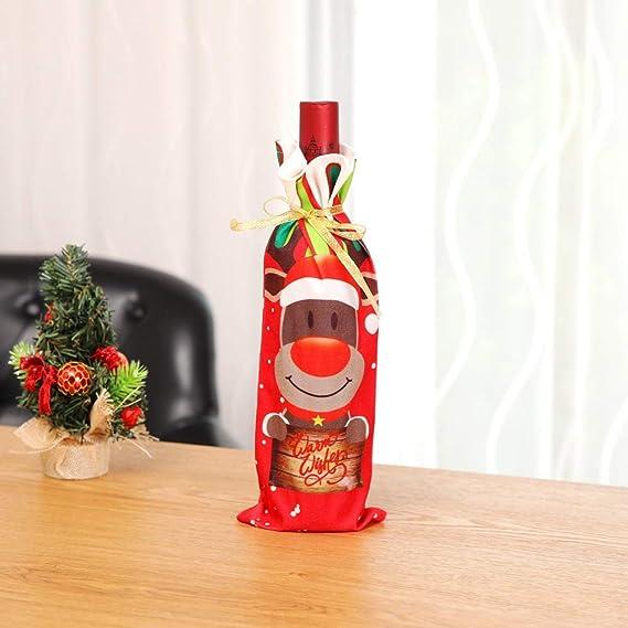 Shuzhen,Gorra de Papá Noel Decorada con 3 Piezas de Botella de Vino de Navidad(Color:Rojo,Size:3 Piezas): Amazon.es: Hogar