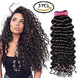 Armmu Brazilian Hair 9A Deep Curly 100% Unprocessed Human Hair Virgin Hair Weft Bundles Remy hair Extensions Natural Black color 300 Grams 182022 Review