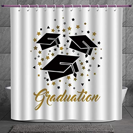 Funky Shower Curtain 20 Graduation DecorAcademy Achievement Bachelor Theme Thrown Caps Tassels Vibrant