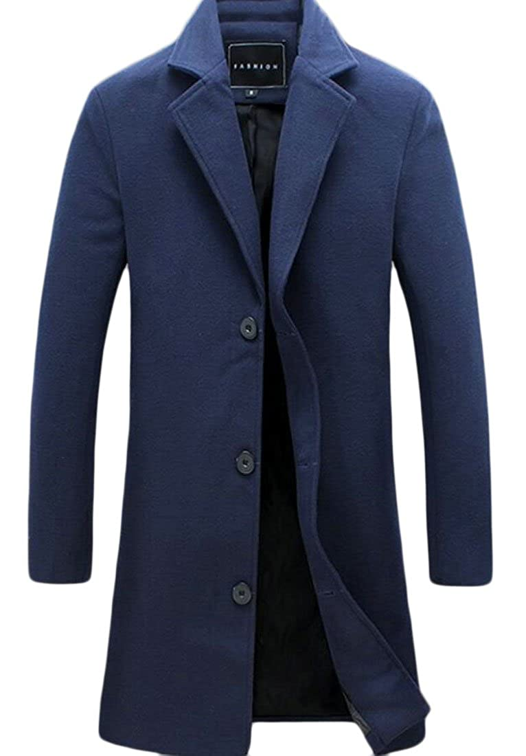 ainr Men's Stylish Wool Blend Single Breasted Trench Pea Coat Outwear