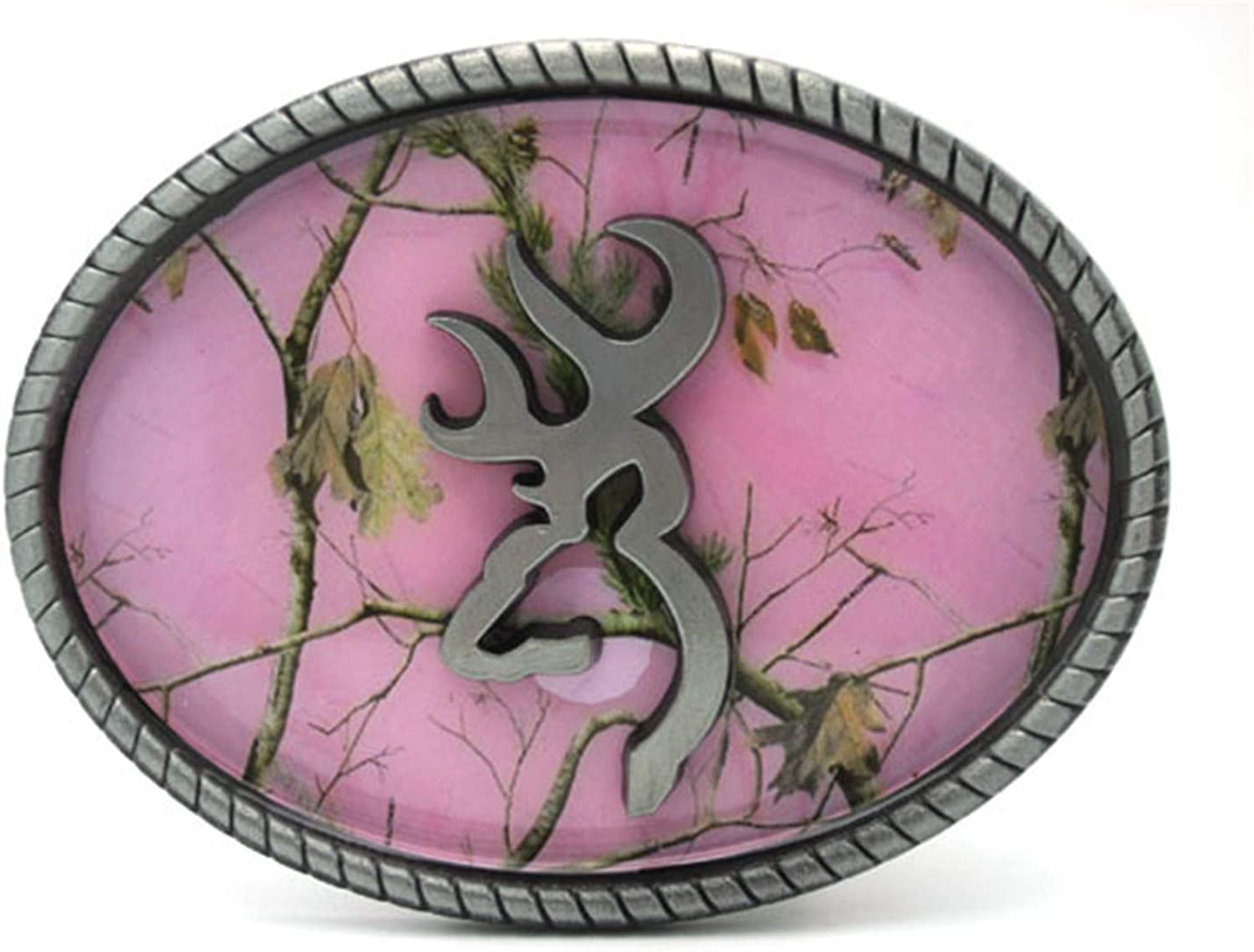 Oval Pink Camouflage Browning Belt Buckle