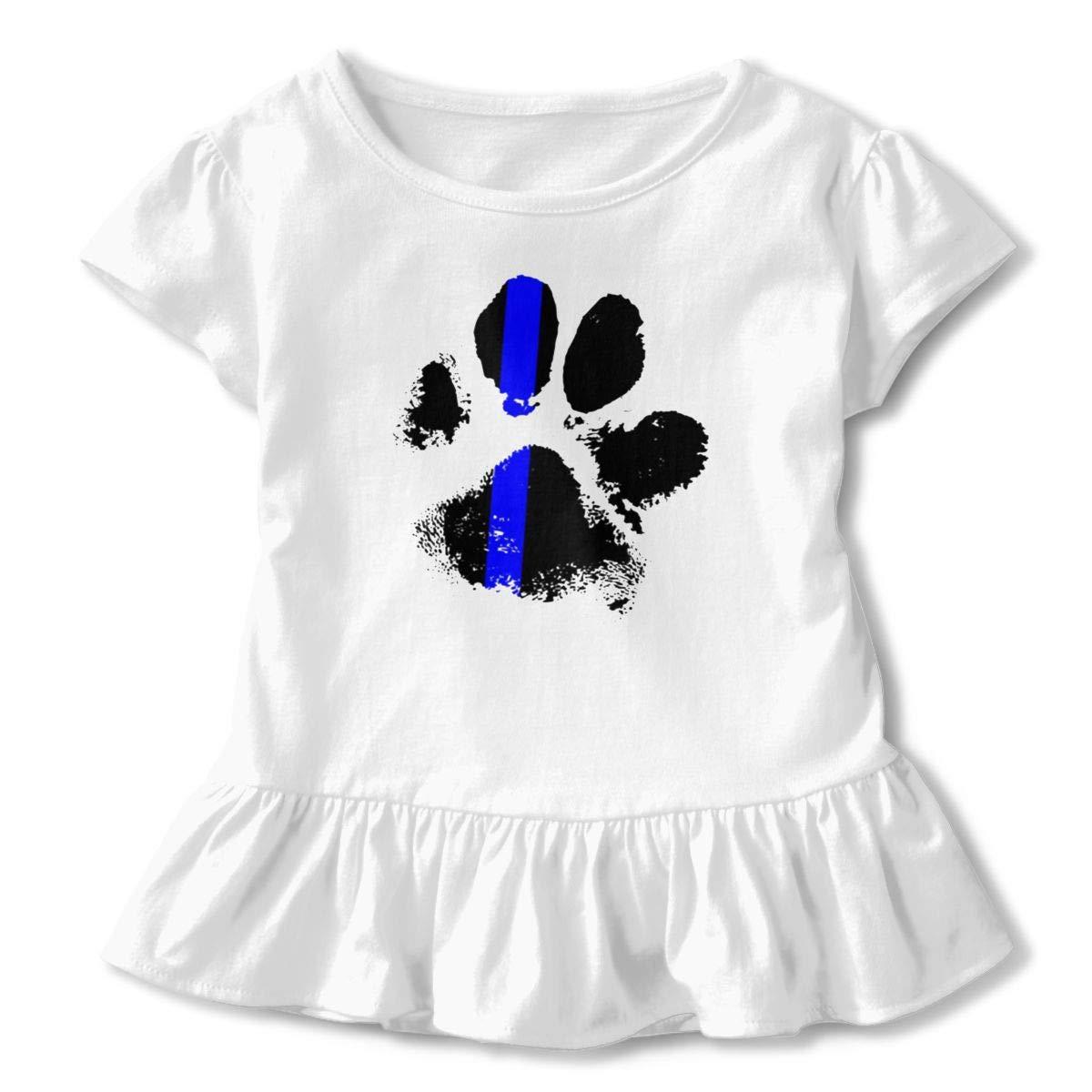 Clarissa Bertha K9 Blue Line Toddler Baby Girls Short Sleeve Ruffle T-Shirt