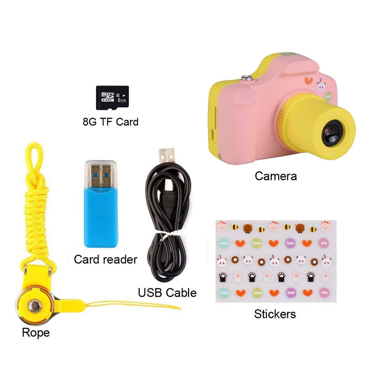 PANNOVO YT001 Mini 1.5 Inch Screen Children Kids Digital Camera with 8GB Cards(Pink) by PANNOVO (Image #7)