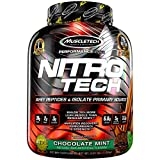 Cheap MuscleTech NitroTech Protein Powder Plus Muscle Builder, 100% Whey Protein with Whey Isolate, Chocolate Mint, 40 Servings (4lbs)