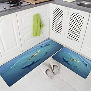 Doocilsh Kitchen Rugs,Kitchen Rugs Washable for Women and Men,17X48+17X24Inches Man in Boat Kayak was The Middle of Ocean Surrounded by Sharks Trapped Kitchen Rug