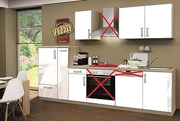Menke Küchenzeile 300 Cm Lack Weiß Ohne Geräte Mit Spüle Blende