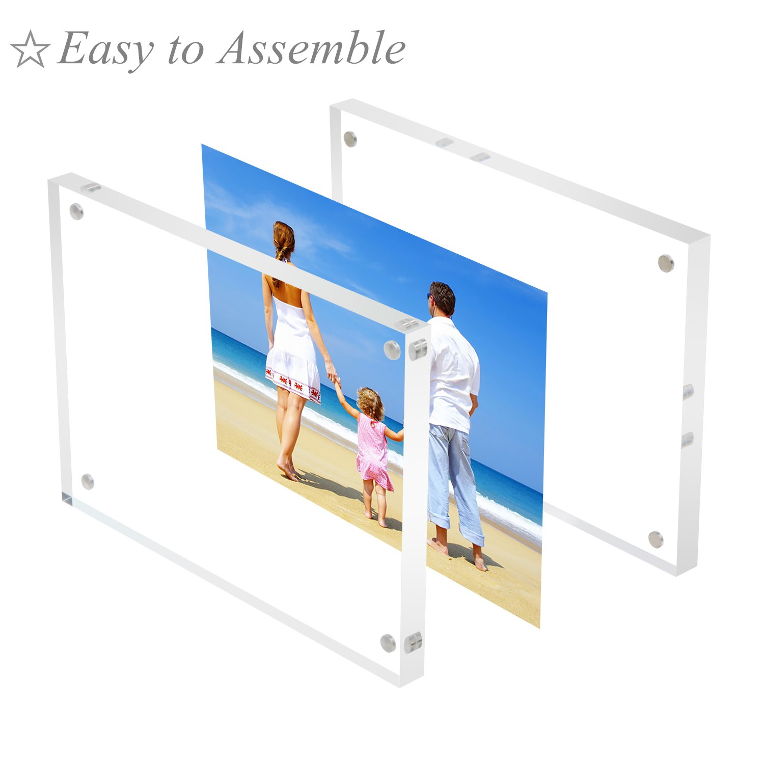 Amazon bulk acrylic picture frames 4x6 clear double sided amazon bulk acrylic picture frames 4x6 clear double sided block set retail gift box package desktop frameless acrylic photo frame 5 pack jeuxipadfo Images