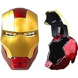 Casco de Iron Man electrónico de Iron Man, casco de cabeza completa, con luz LED, máscara de Iron Man con Halloween…