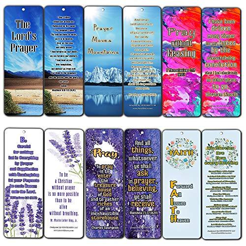 Christian Prayer Inspirational Bookmarks Cards KJV (60-Pack) - The Lord's Prayer King James Version- Prayer Cards for Prayer Journal Book - Bible - Powerful War Room Decor -