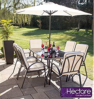 hadleigh 6 seater steel garden patio outdoor furniture set by hectare - Garden Furniture 6 Seats