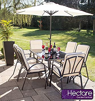 Hadleigh 6 Seater Steel Garden U0026 Patio Outdoor Furniture Set By Hectare