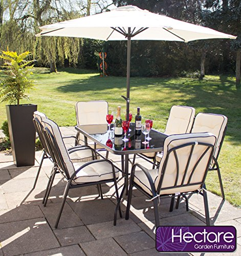 hadleigh 6 seater steel garden patio outdoor furniture set by hectare - Garden Furniture 6 Seater