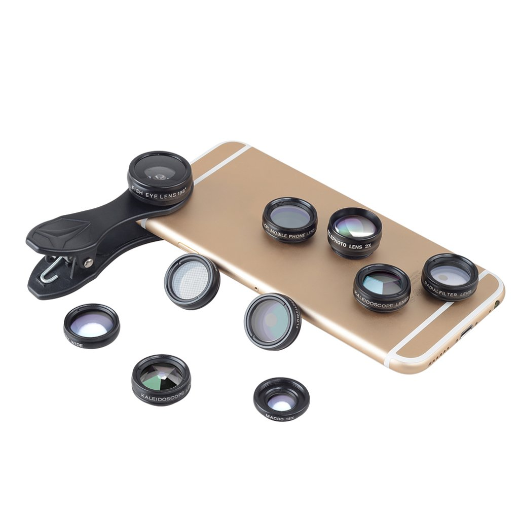 Ojo de Pez Lente Gran Angular Telescopio Macro para Smartphone Rekkles APEXEL APL-DG10 10 en 1 Kit de tel/éfono para Lente de la c/ámara