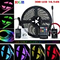 LED Strip Lights Sync to Music, 5M/16.54ft 300LED 12V Flexible Multi Color LED Lights Strip Kit, SMD 5050 Waterproof Rope Light, Cuttable Lighting Strips with RF Remote for Home Bar Party Decoration