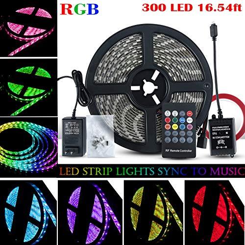 LED Strip Lights Sync To Music, 5M/16.54ft 300LED 12V