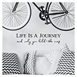 Life is a journey and only you hold the map vinyl lettering self adhesive decal (9''H x 36''L, Black)