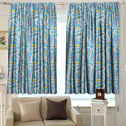 AFGG Small Window Curtains Kids Activity Cartoon Style Road with a Variety of Vehicles Buses Cars and Trucks Driving Room Darkening, Noise Reducing 55 W x 63 L Inches Multicolor