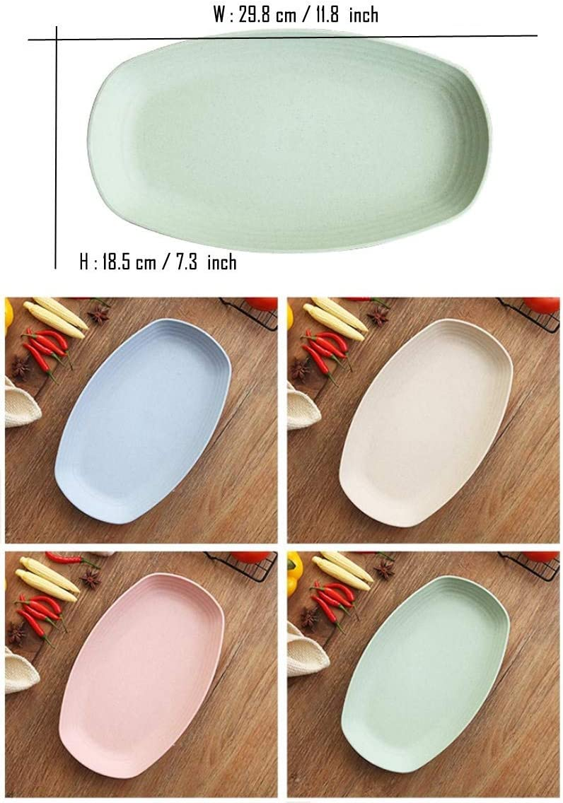 BPA Free And Healthy Cereal Dishes//Kids-toddler /& Adult Long plate11x4pc Wheat Straw Plastic Plates Dinnerware Set//Reusable-Unbreakable Dinner Plate//Eco Friendly-Dishwasher /& Microwave Safe