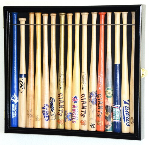 all Mini Bat Display Case Cabinet Holder Rack w/98% UV Lockable Holds up to 16 Bats (Black Finish) ()