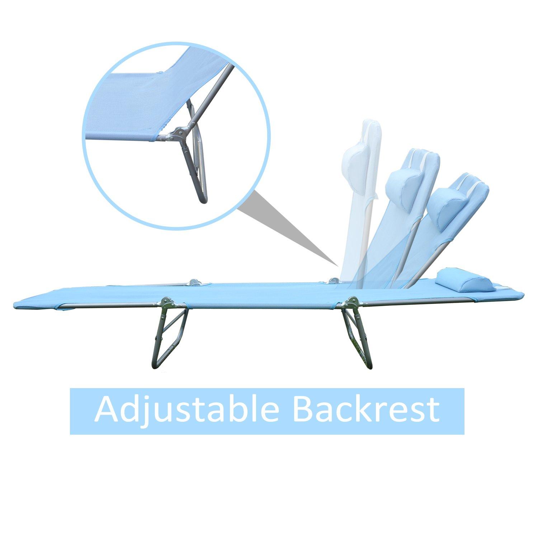 Amazon.com: Silla reclinable de playa Outsunny, Azul: Jardín ...