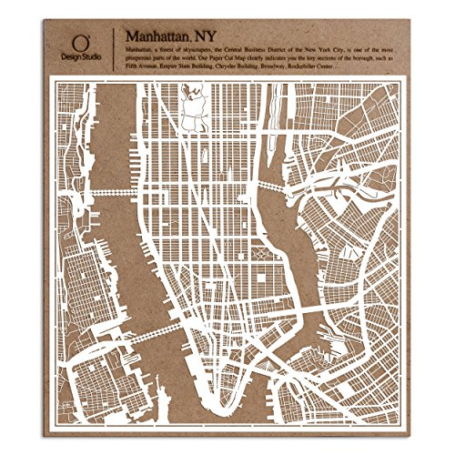 Manhattan, NY. Paper Cut Map by O3 Design Studio White 12x12 inches Paper Art (Center Artwork Rockefeller)