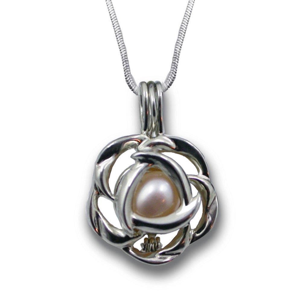 Pearlina Cultured Love Pearl Oyster Necklace Set Silver tone Rose Cage w/ Stainless Steel Chain 18