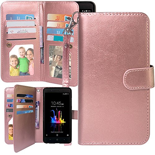 Free Mini Blade Case - ZTE Blade Z Max Case, ZTE Sequoia Case,ZMax Pro 2 Case, Harryshell Luxury 12 Card Slots Shockproof Kickstand PU Leather Wallet Flip Protective Case Cover with Wrist Strap for ZTE Z982 (Rose Gold)