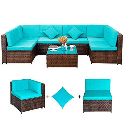 Romatlink 7 PCS Rattan Cushioned Sectional Sofa Outdoor Garden PE Wicker Conversation Lawn Patio Furniture Sets with Coffee Table, Blue03