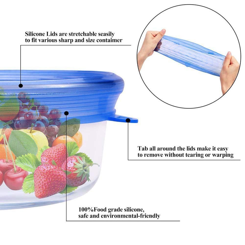 Food Grade Easy to Clean Reusable Silicone Stretch Lids (12, Transparent and Blue) by WDWYW (Image #7)