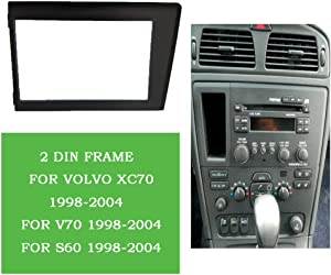 PSOIHGTFS Double Din Car Radio Fascia Fit for Volvo XC70 V70 S60 1998-2004 Stereo Plate Trim Kit Panel Dash CD DVD Frame,178x100mm
