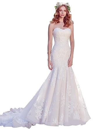 Annie\'s Bridal Womens Sweetheart Neckline Lace Applique Bodice ...
