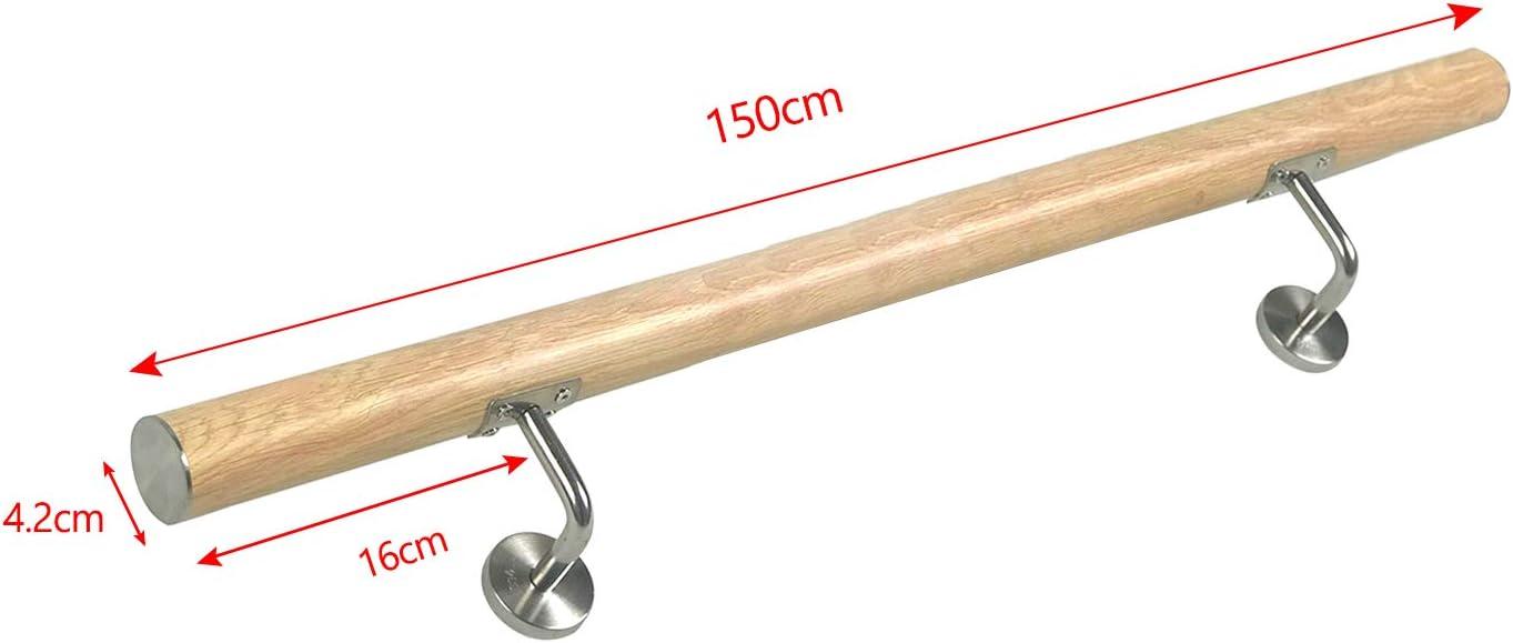 Argent, 100cm FROADP Main courante en acier inox AISI304 Contre le garde-corps mural pour escaliers int/érieurs et ext/érieurs
