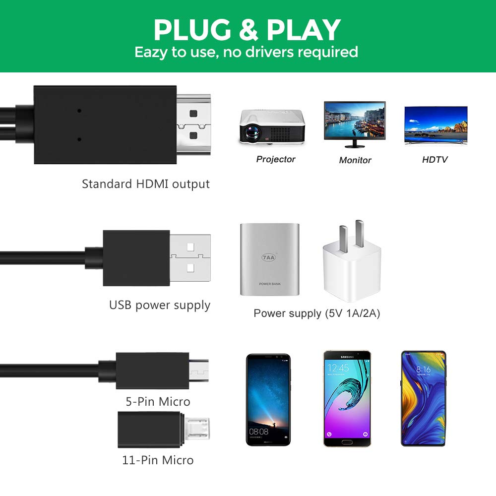 Micro USB to HDMI Cable 6 Feet Digital AV Video Adapter for All Android Smartphones to TV//Projector//Monitor MHL to HDMI Adapter 1080P HD HDTV Mirroring /&Charging Cable