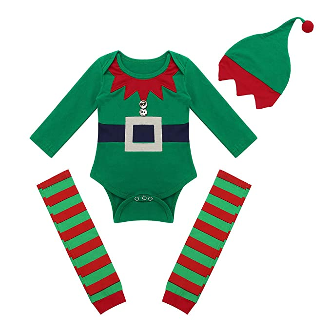 iiniim 3 pcs Pelele + Calentadores + Gorro Disfraces Duende Navidad Bebé Niño Niña Mameluco Algodón Unisex Traje Infantil Xmas Disfraz Conjunto Body Manga ...