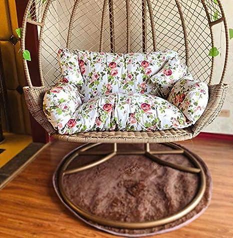 Giow Cuscini per sedie a Dondolo in Rattan di Vimini Cuscini a Forma di Nido Cuscino per Cesto Appeso Amaca Seduta a Due posti Lavabile Rimovibile-a 110x150 cm 43x59 Pollici