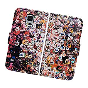 Fabcov Packing Bcov Colorful Skulls Leather Wallet Cover Case For Samsung Galaxy S5 GS5
