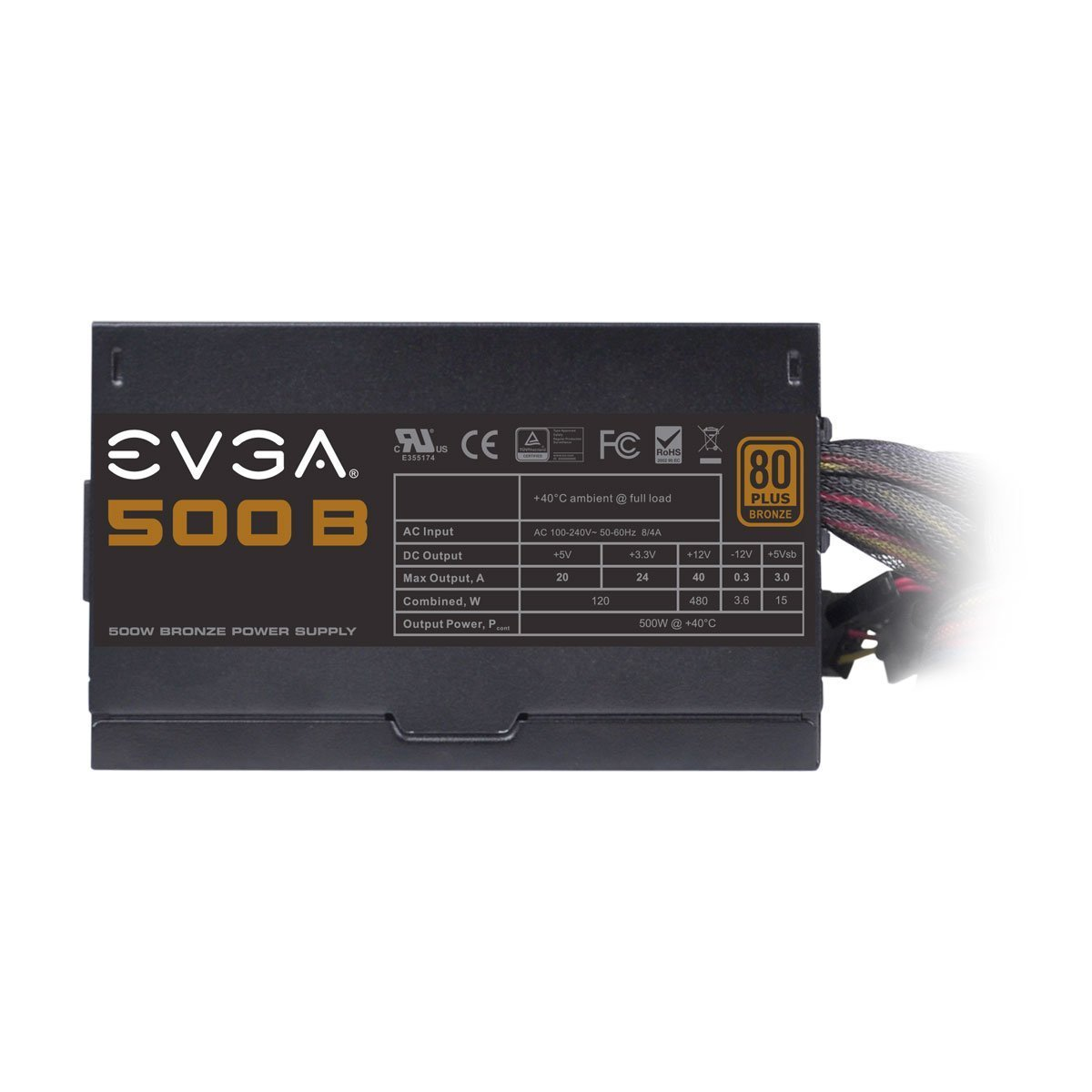 61RhJKONZzL._SL1200_ amazon com evga 500 b1, 80 bronze 500w power supply, 3 year  at creativeand.co