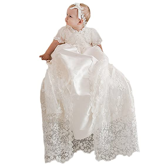 Amazon.com: Vicokity Stunning Ivory Baby Lace Christening Dress ...
