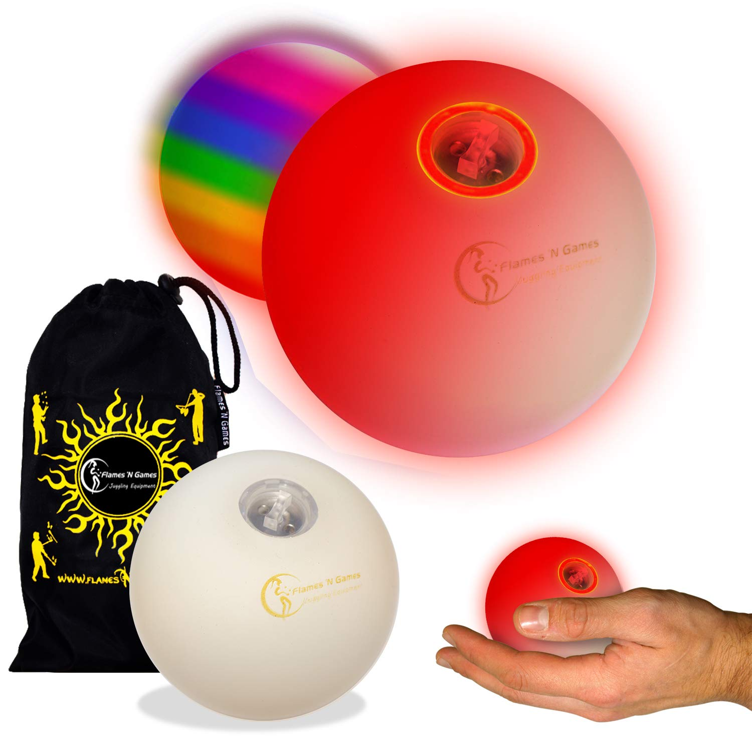 Flames N Games Pro LED Glow Juggling Balls 5X (Slow Fade Rainbow Effect) Ultra Bright Battery Powered Glow LED Juggling Ball Set with Travel Bag. (Set of 5) by Flames N Games Juggling Ball Sets (Image #2)