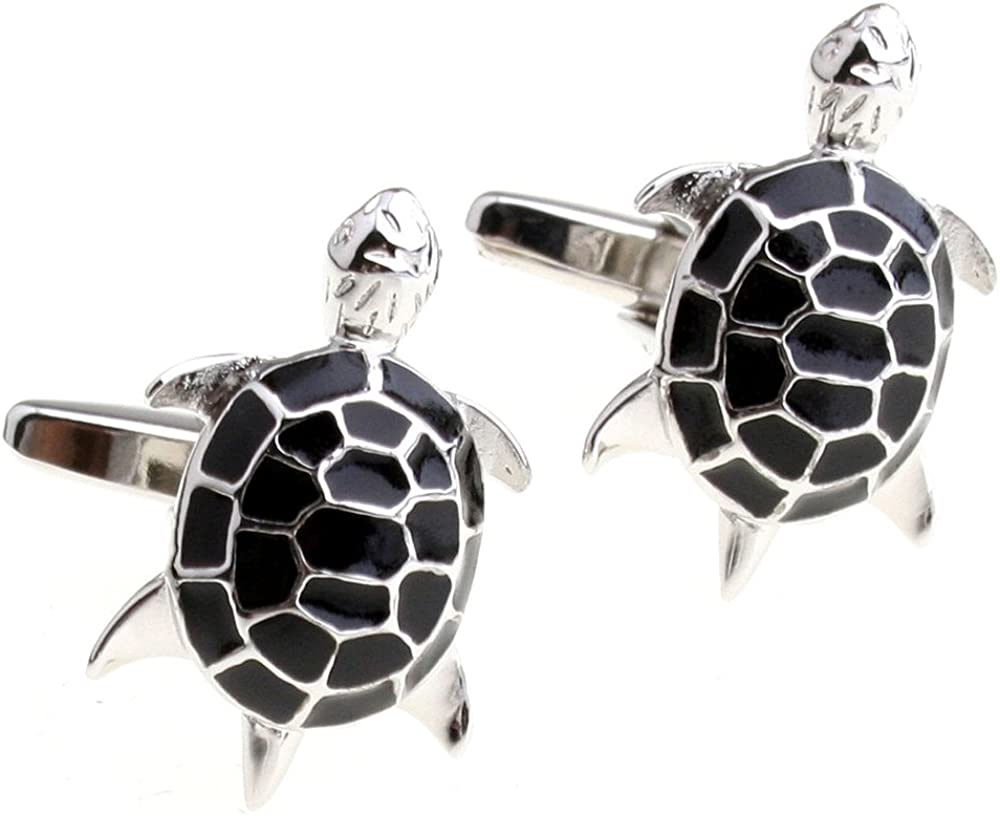 Covink Cute Black Turtle Figure Men's French Suit Sleeves Buttons Cufflinks for Wedding Party