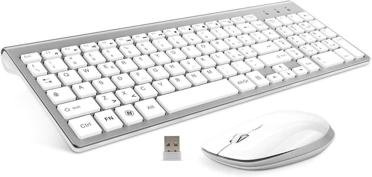 FENIFOX Teclado y ratón inalámbrico Qwertz 2,4 GHz silencioso Slim Kit Keyboard ratón inalámbrico 2,4 G, botón silencioso