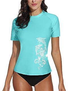 28057502e8c5e BesserBay Women's Short Sleeve Rashguard UPF 50+ Swimming Shirt Surf Top  Swimwear