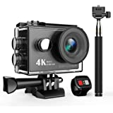 DBPOWER 4K Wi-Fi Action Camera, Ultra-HD 12MP Waterproof Sports Camera with 170-degree Wide-angle Lens, 2-inch LCD Screen, Waterproof to 98ft, Plus 1050mAh Rechargeable Battery and Accessories Kits