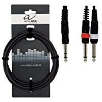 Alpha Audio 190105 3 m 1x 6.3 mm Stereo Jack Plug to 2x 6.3 mm Mono Jack Plug Basic Line Y-Cable