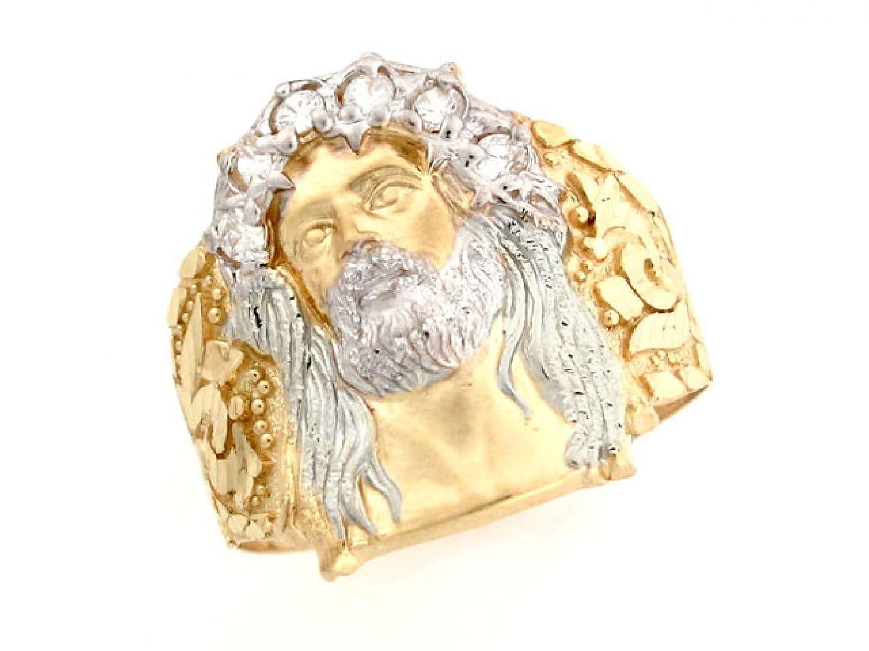 Amazoncom 10k Two Tone Gold White CZ Jesus Religious Mens Ring