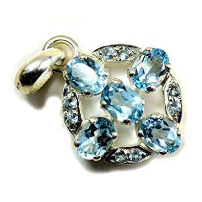 a5deff006 Amazon.com: CaratYogi Natural Mixed Shape Blue Topaz Pendant 925 Sterling  Silver: Jewelry